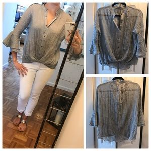 NWOT Wrap Front Blouse, Gray Textured Voile